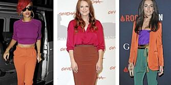 FARGESTERK: Både popstjernen Rihanna, og skuespillerne Julianne Moore og Camilla Belle har kastet seg over denne dristige fargetrenden.