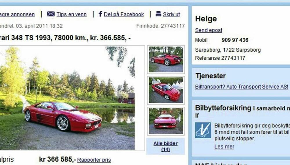 ITALIENSK: Ferrari 348 TS