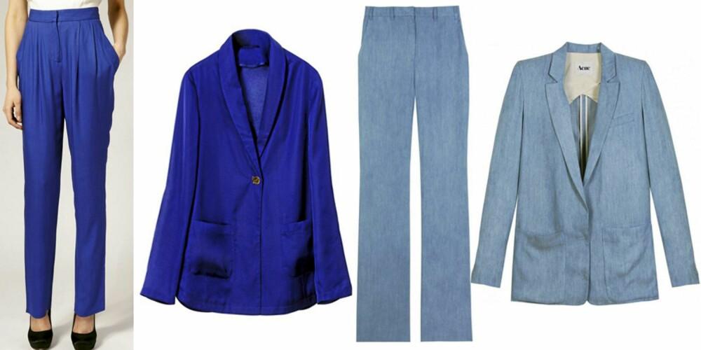 FRA VENSTRE: Blå bukse (kr 967) fra Reiss, blå blazer fra H&M (kr 299). Matchende dress fra Acne, bukse (kr 1282), og blazer (kr 2525).