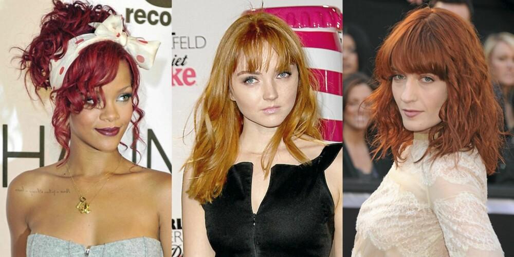 RØDT HÅR: RIHANNA; Lily Cole og Florence Welch har helt riktig hårfarge denne sesongen.
