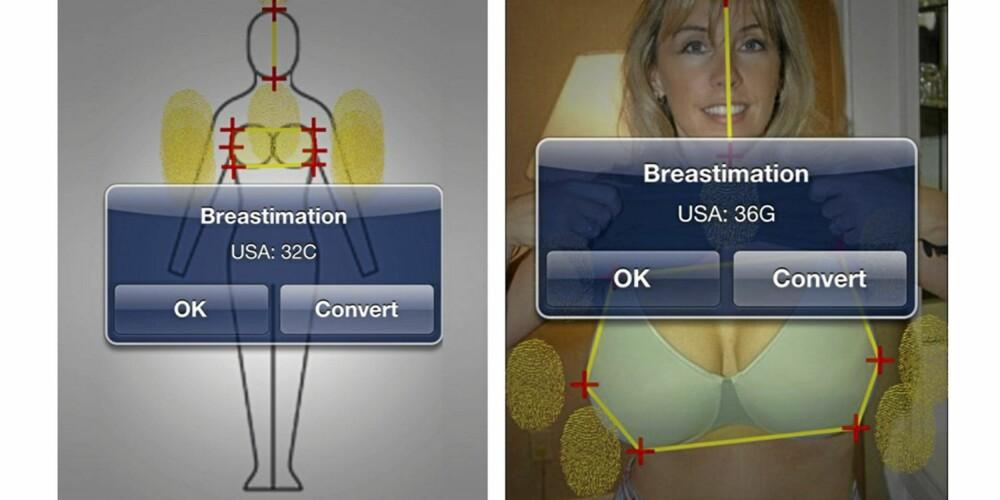 BREASTIMATE: Ved å laste opp et bilde, kan applikasjonen vurdere hvilken størrelse du må ha.