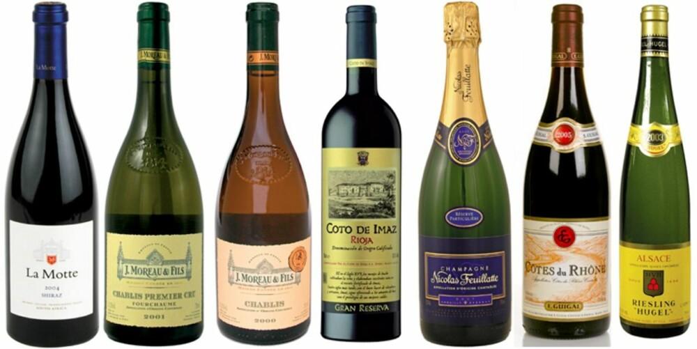 GODE KJØP: Her er noen av vinene som du sparer mange kroner ved å kjøpe på flyplassen kontra på Vinmonopolet.