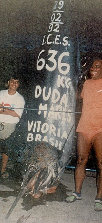BIG BLUE: Paulo Amorims 636-kilos blå marlin ble tatt på en rosa og hvit Super Chugger (blekksprutimitasjon) under dorging utenfor Vitoria i Brasil i 1992.