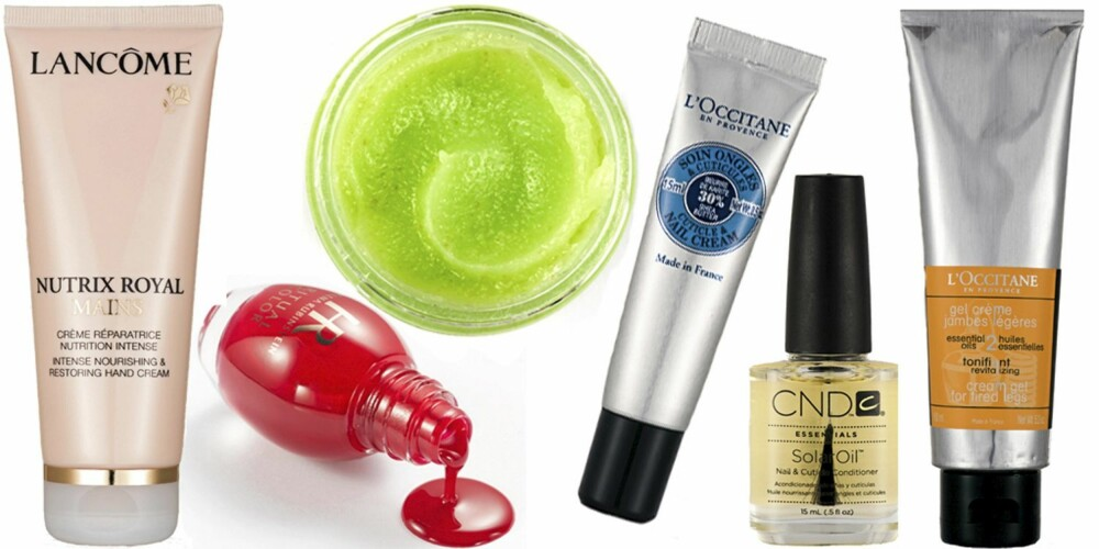 FRA VENSTRE: Lancôme Nutrix Royal Hand Cream (kr 235), Helena RubinsteinRitual Color (kr 225), CND Citrus Moisture Scrub (kr 189), L'Occitane Cuticle og Nail Cream (kr 159), CND Solar Oil (kr 189), L'Occitane Aroma For Tired Legs (kr 269).
