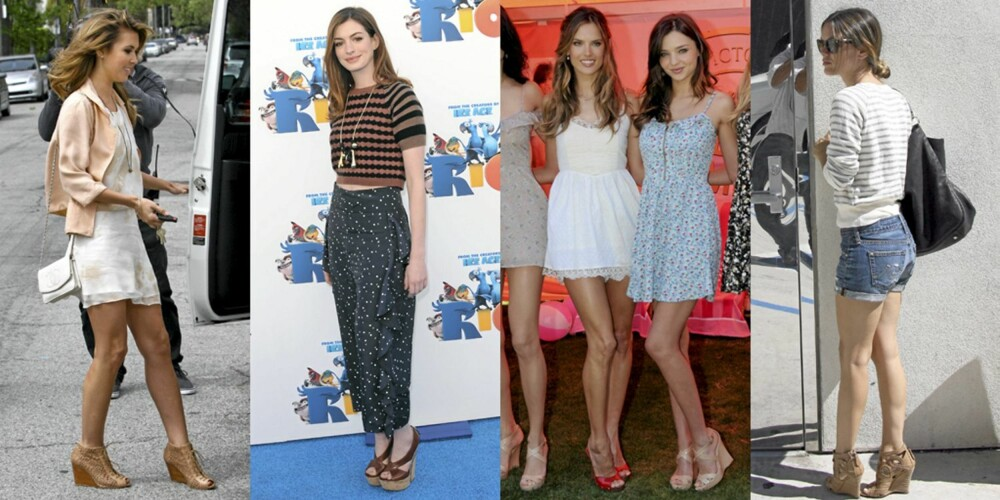 KILEHÆL: Audrina Patridge, Anne Hathaway, Alessandra Ambrosio, Miranda Kerr og Rachel Bilson går for kilehæler på sandalene.