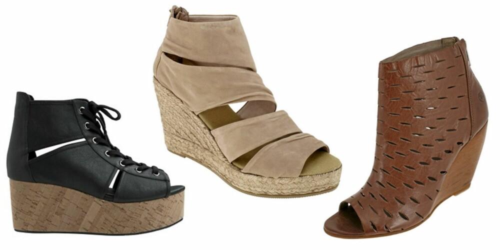 FRA VENSTRE: Sandaler fra Monki (kr 450), sandaler fra Kanna (kr 898) og sandaler fra Bronx (kr 898).