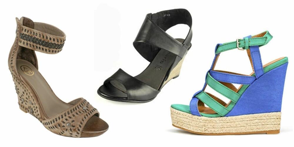 FRA VENSTRE: Sandaler fra Ash (kr 2098), sandaler fra tamaris (kr 699) og sandaler fra Zara (kr 799).