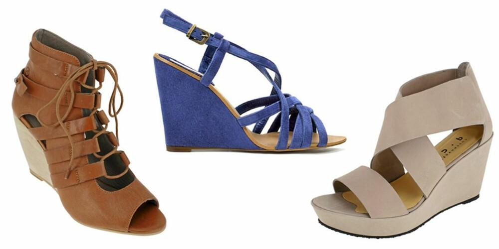 FRA VENSTRE: Sandaler fra Bronx (kr 898), sandaler fra Zara (kr 399) og sandaler fra D. Co Copenhagen (kr 1698).