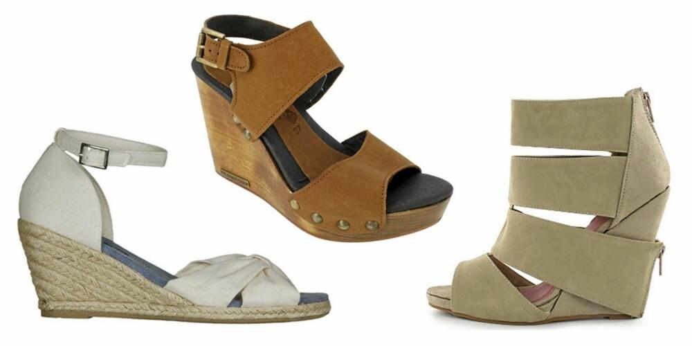 FRA VENSTRE: Sandaler fra Din Sko (kr 249), sandaler fra Emma Go (kr 1398) og sandaler fra Wildflower by Kenza (kr 749).