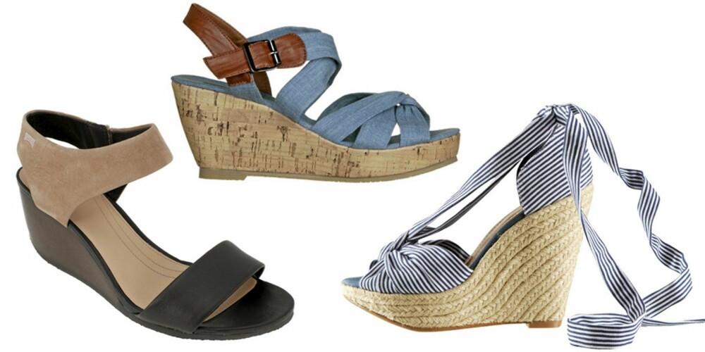 FRA VENSTRE: Sandaler fra Camper (kr 1298), sandaler fra Din Sko (kr249) og sandaler fra HM (kr 299).