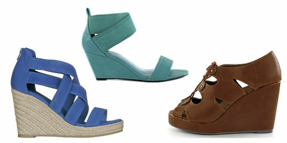 FRA VENSTRE: Sandaler fra Din Sko (kr 299), sandaler fra Nelly (kr 249) og sandaler fra Friis og Co (kr 649).