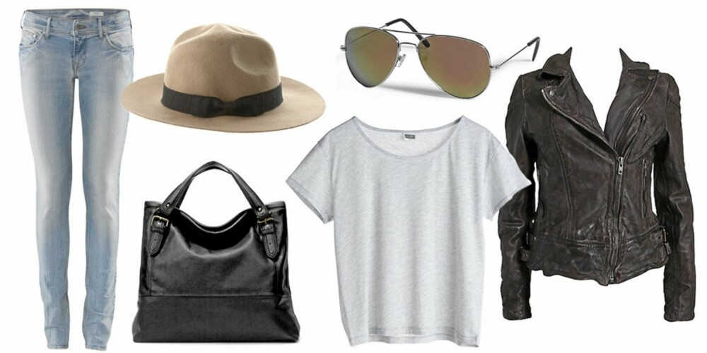 FRA VENSTRE: Jeans fra H&M (kr 249), hatt fra Asos (kr 250), veske fra Zara (kr 399), T-skjorte fra Weekday (kr 100), solbriller fra Lindex (kr 59,50), skinnjakke fra Muubaa (kr 4495).