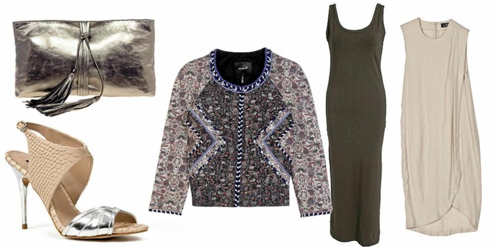 FRA VENSTRE: Clutch fra Asos (kr 450), sandaler fra Zara (kr 799), jakke fra Isabel Marant/Mytheresa.com (kr 7200), maxikjolefra Rut M.Fl (kr 199), kjole fra Cheap Monday (kr 600).