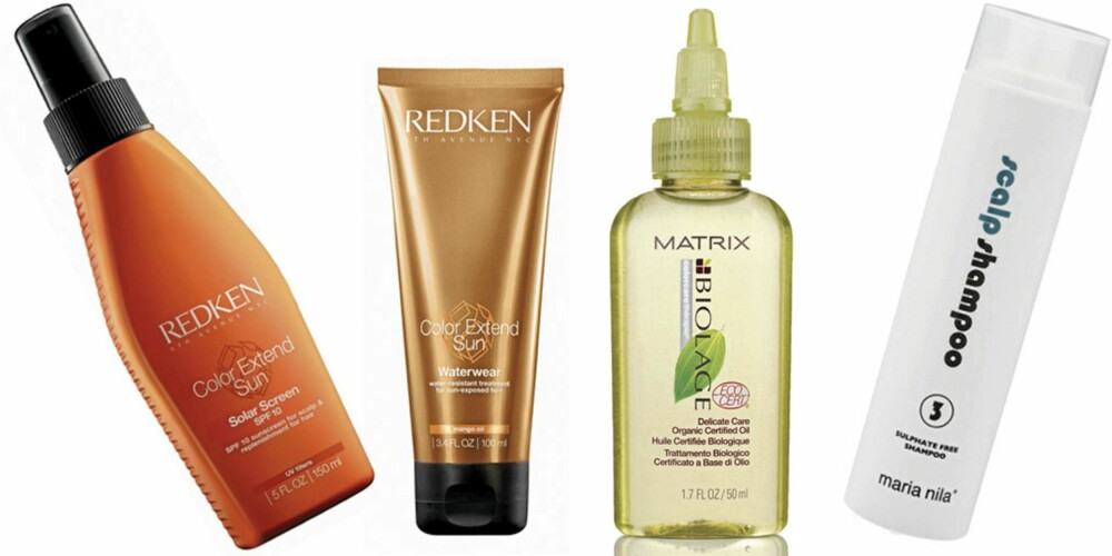 FRA VENSTRE: Redken Color Extend Sun Solar Screen (kr 338), Redken Color Extend Sun Waterwear (kr 338), Matrix Biolage Organic Oil Treatment (kr 226), Maria Nila scalp shampoo (kr 175).