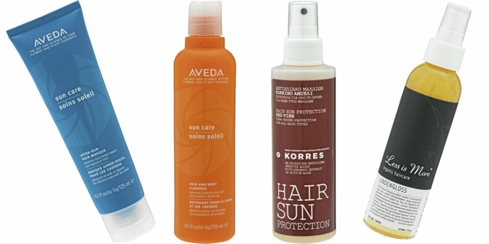 FRA VENSTRE: Aveda After sun hair masque (kr 270), Aveda Sun care haire and body cleanser (krr 315), Korres Hair sun protection (kr 149), Less is More Lindengloss finishspray (kr 290).