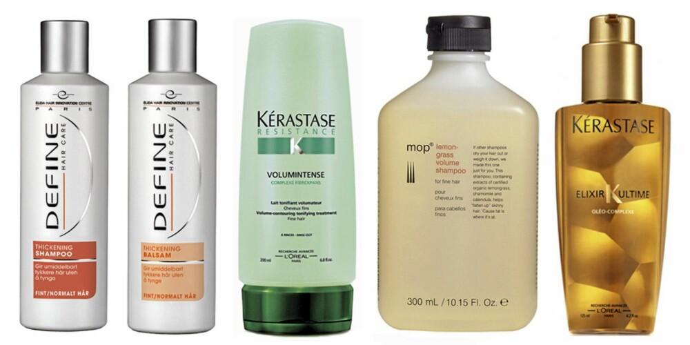 FRA VENSTRE: Define Thickening sjampo og balsam (kr 59 per stk), Kérastase Volumintense Treatment (ca kr 200), MOP Lemongrass Volume shampoo (ca kr 160) og Kérastase Elixir Ultime (kr 295).