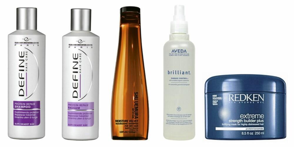 FRA VENSTRE: Define Protein Repair Sjampo og balsam (kr59), Shu Uemura Moisture Velvet shampoo (kr 360, Aveda Brilliant Damage Control (ca kr 280) og Redken Extreme Strength Builder (kr 355).
