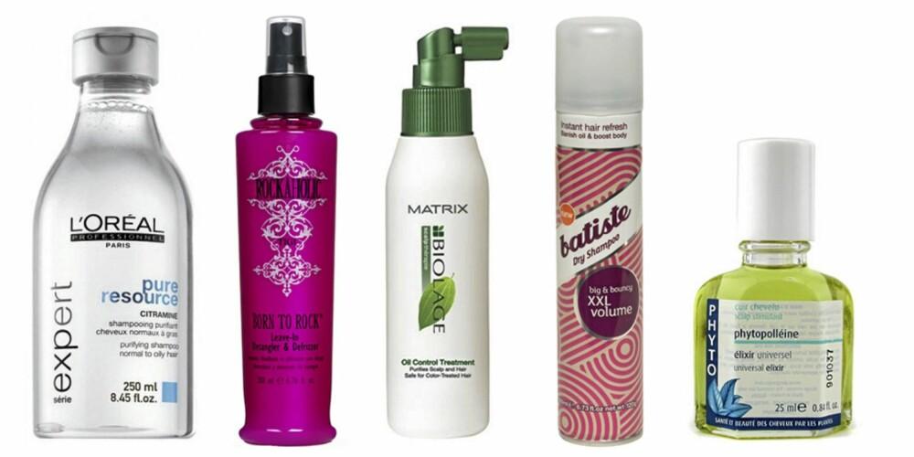 FRA VENSTRE: L'Oréal Pure resource shampoo (kr 159), TIGI Born To Rocke Leave In Detangler (kr 149), Biolage  Oil Control Treatment (ca kr 210), Batiste Tørrsjampo (kr 79) og Phyto Phytopolleine Scalp Stimulant (ca kr 200).