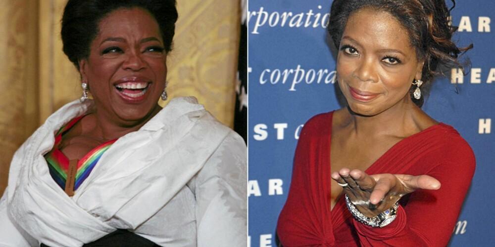 FØR OG NÅ: Oprah Winfrey har gått opp mye vekt den siste tiden. Hun er kjent for å være en jojoslanker, og her ser man stor forskjell på nå og hvordan hun så ut i 2006.