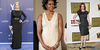 FINE FIGURER: Kate Winslet markerer midjen, Michelle Obama balanserer antrekket med tilbehør og Christina Hendricks fremhever sin timeglassfigur.