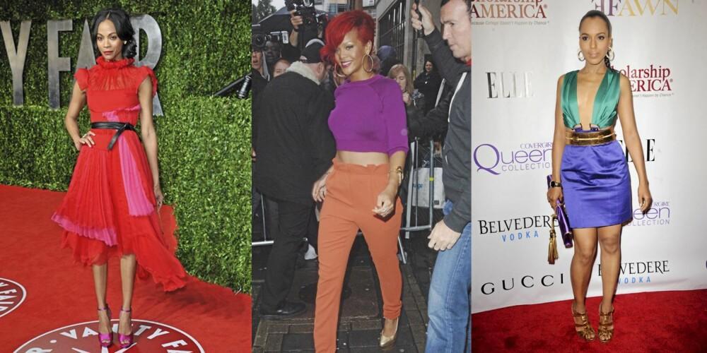 OPPSIKTSVEKKENDE: Zoe Saldana leder an trenden, men Rihanna og Kim Kardishian viser også at de elsker å kombinere knalle farger.