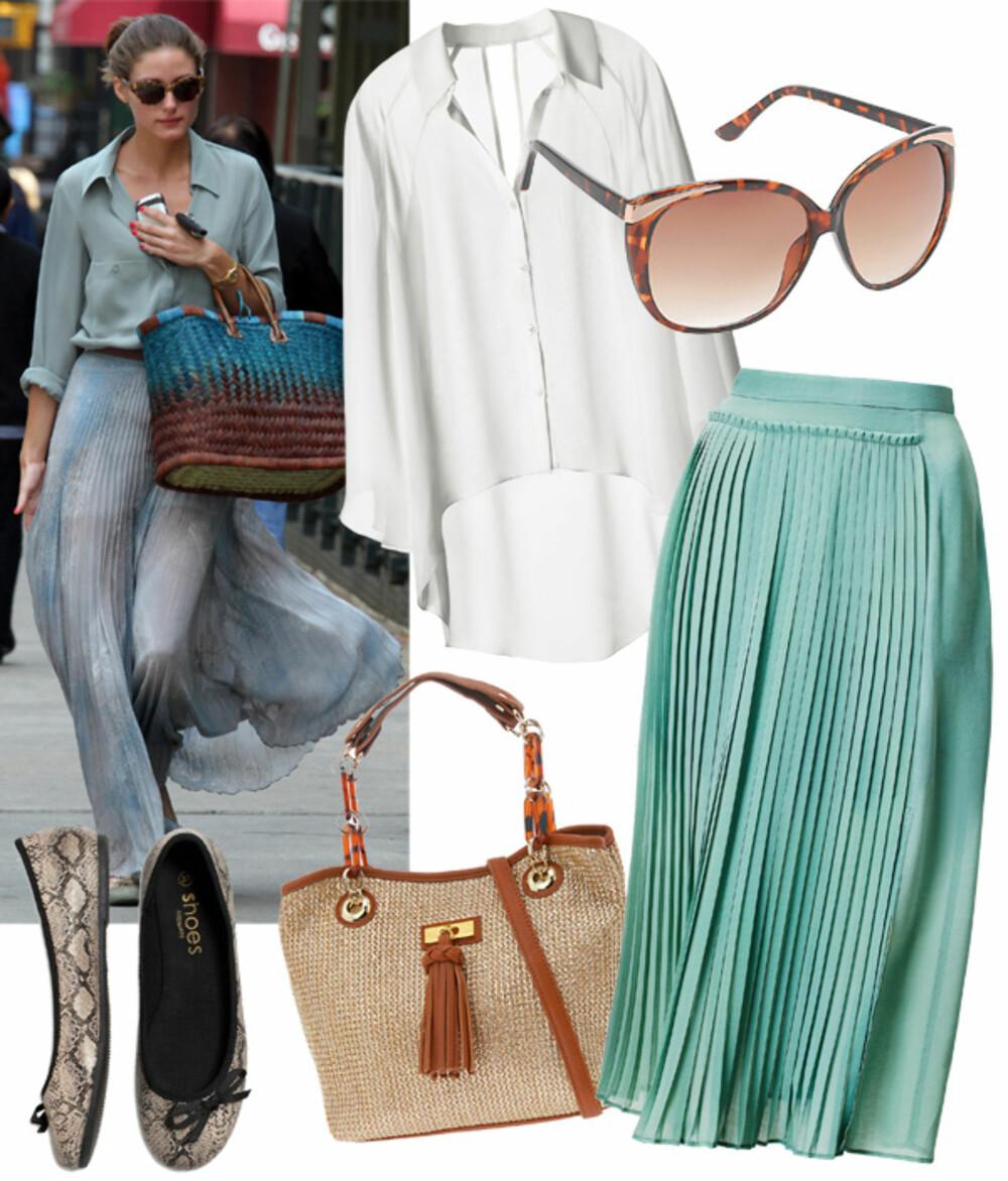 FRA VENSTRE: Bluse fra H&M (kr 149), solbriller fra Aldo (kr 129), sko fra Kappahl (kr 149), veske fra Aldo (kr 380), skjort fra H&M (kr 399).