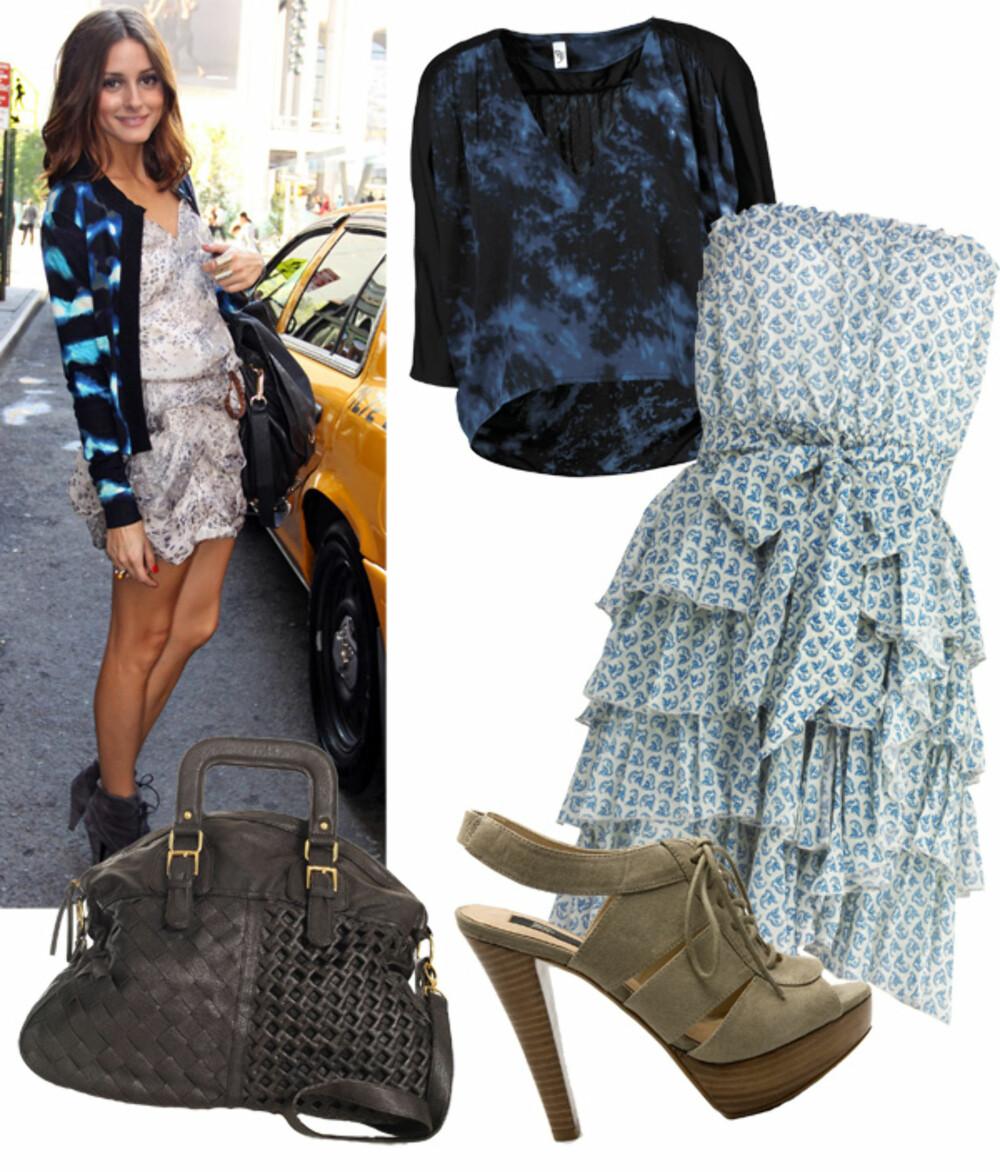 FRA VENSTRE: Genser fra Vero Moda (kr 300), kjole fra Benetton (kr 999), veske fra Urban Expression (kr 799),  sko fra Mango (kr 599).