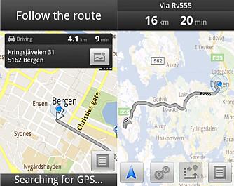 RUTEOPPSETT: Det er lett å taste inn adresser, og du kan få en oversikt over rutene du har satt opp.