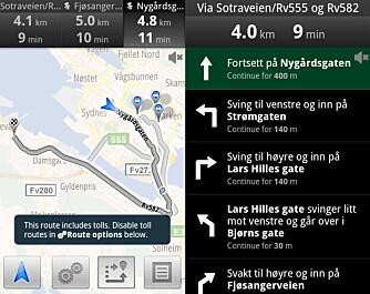 ALTERNATIVER: Google Maps Navigation kan vise deg flere rutealternativer, og det er lett å velge mellom disse. Du kan få opp hele ruten beskrevet med ikoner og veinavn.