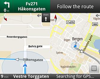LETT Å FØLGE: Under navigasjon ser du et 3D-kart hvor ruten din er markerdt med en blå strek. Du kan også se en oversikt i 2D-modus.