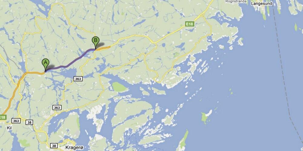 VED KRAGERØ: E18 fra Dørdal - Auråen nord for Kragerø.