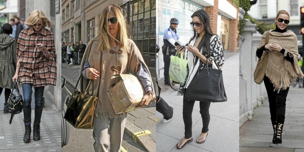 KJENDISER I PONCHO: Fra venstre: Fearne Cotton i rutete poncho kombinert med skinny jeans og støvletter. Fearne Cotton i beige poncho. Kim Kardashian i svart og hvit mønstret poncho. Kylie i myk beige variant i kombinasjon med svart.