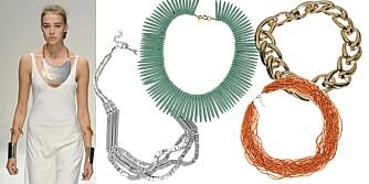 SMYKKER: Fra visningen til Amanda Wakely. Turkis smykke fra Kenneth Jay Lane/Net-a-porter.com, kr 600, stort gullsmykke fra Ellos, kr 249, oransje perler fra Cubus, kr 99 og langt stort sølvsmykke fra Indiska, kr 100.