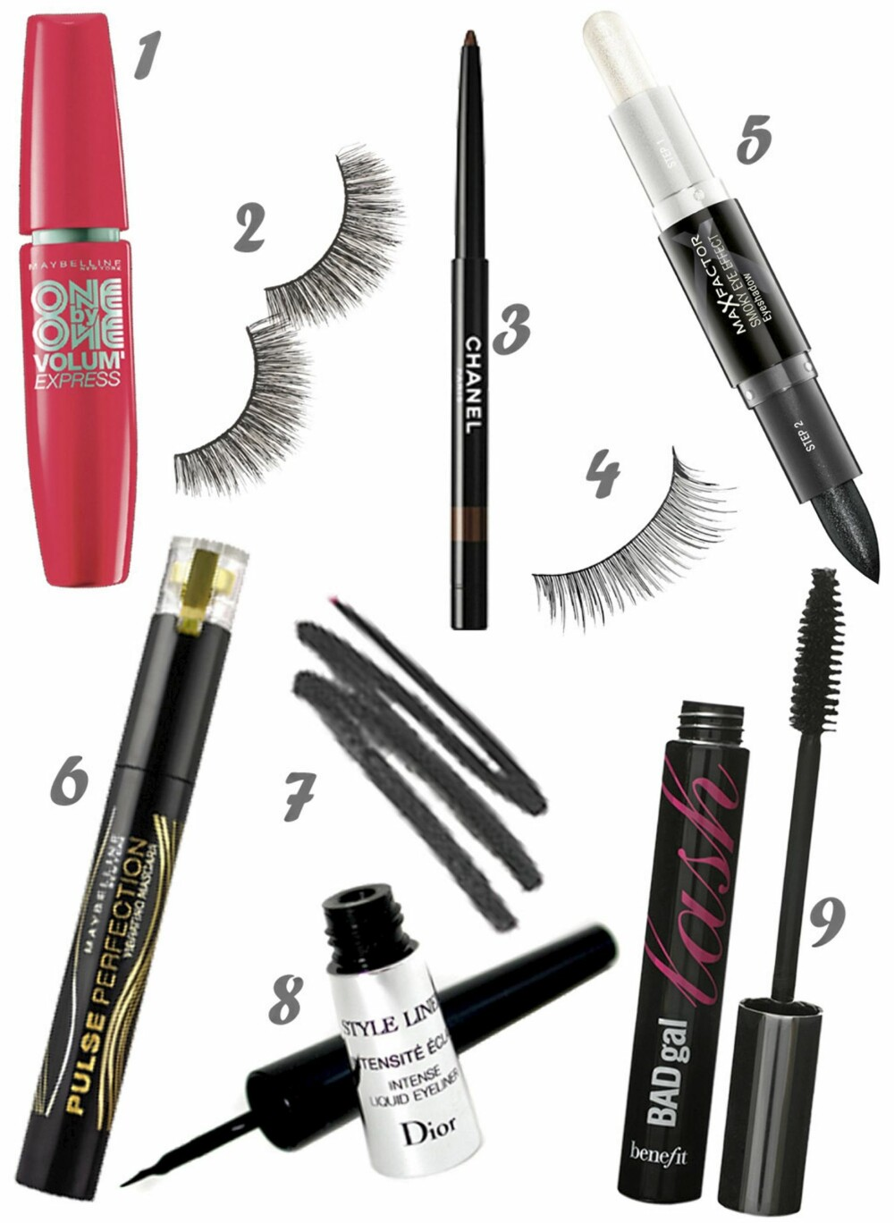 ETTER NUMMER: 1. Maybelline One by one volume express (kr 179), 2. Eylure Double lashes (kr 63), 3. Chanel Longlasting eyeliner (kr 210), 4. Make Up Store eyelashes small (kr 165), 5. Max factor Smoky eye effect eyeshadow (kr 115), 6. Maybelline Pulse perfection (kr 179), 7. Bobbi brown creamy eye pencil (kr 185), 8. Dior Style liner (kr 280), 9. Benefit Bad gal lash mascara (kr 145).