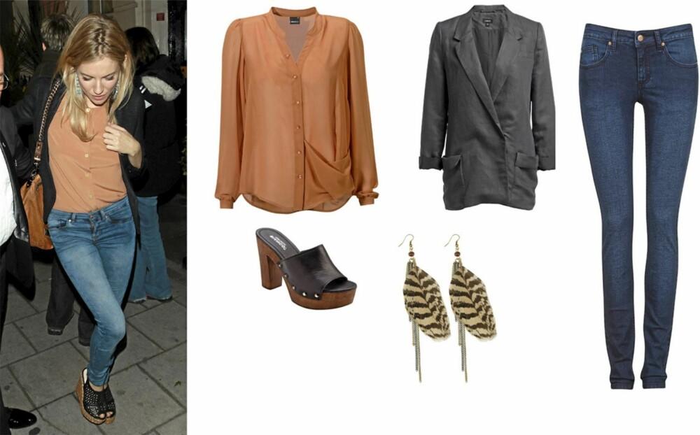ENKEL OG KUL: Bluse fra Gina Tricot (kr 249), sort blazer fra Lindex (kr 499), skinny jeans fra Cubus (kr 199) tresko fra Bianco (kr 700) og øreåpynt fra Indiska (kr 49).
