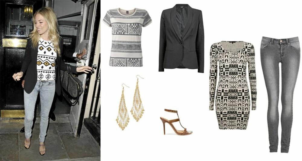RIMELIGE FAVORITTER: T-skjorte fra Vero Moda (kr 159), sort blazer fra Cubus (kr 349), mønstret kjole fra Cubus (kr 249), jeans fra Cubus (kr 199), sandaler fra Zara (kr 679) og ørepynt fra Aldo (kr 99).
