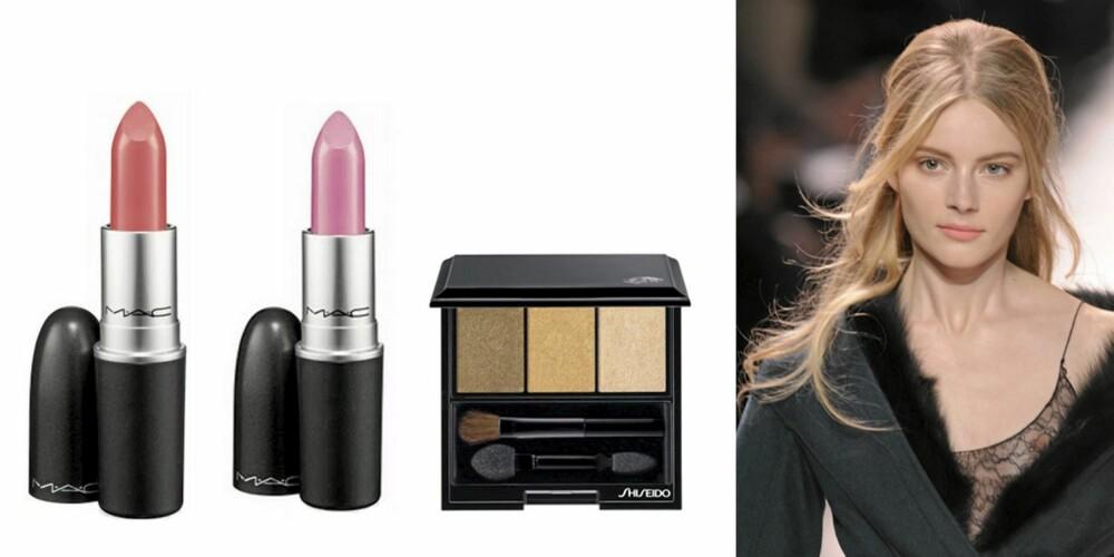 NINA RICCI: Mac lipstick i Saint germain (kr 160), Mac lipstick i Costa Chic (kr 160), Shiseido Eye Trio (kr 360).