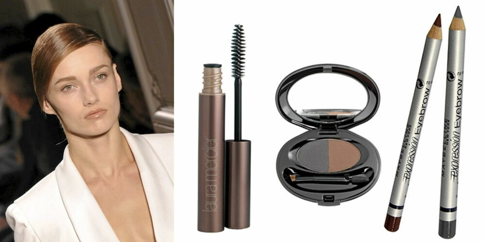 YVES SAINT LAURENT: Laura Mercier Eye brow gel (kr 200), Shiseido Eyebrow compact (kr 305) og Maybelline Expression Eyebrow (kr 92).