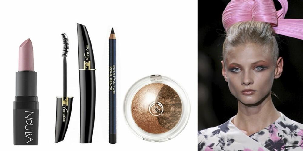 ARMANI: Nouba lipstick i 158 (kr 175), Lancôme Virtuôse mascara (kr 275), Max Factor kajal (kr 70) og The Body Shop Baked to last eyeshadow i Copper (kr 165).