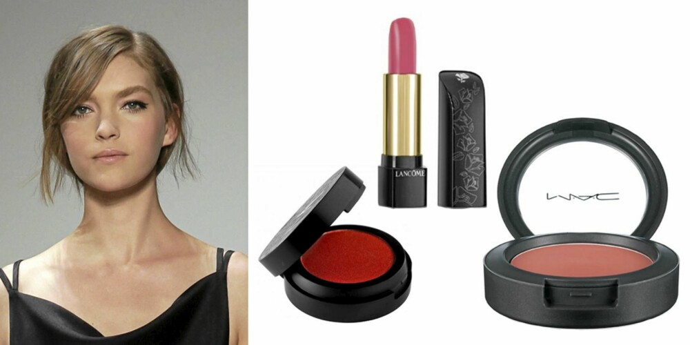 GIANFRANCO FERRE: Make Up Store Blush i fargen Frozen Daiquiri (kr 155), Lancôme L'Absolu rouge lipstick i 353 (kr 275) og MAC Cremeblend blush i fargen Something Special (kr 195).