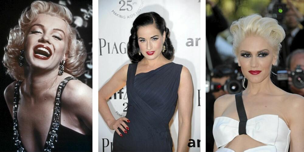 FLOTTE DAMER: Marilyn Monroe, Dita Von Teese og Gwen Stefani er alle kjente for å se slånede vakre ut i rød leppestift.
