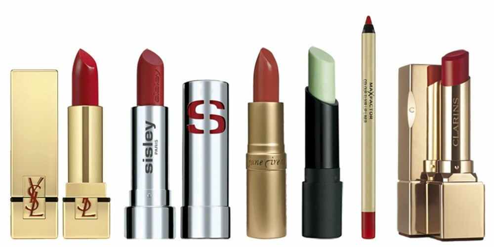 FRA VENSTRE: YSL Rouge Pur Couture (kr 280), Sisley Phyto Lip Shine (kr 265), Jane Iredale Puremoist Lip Colour (kr 245), The Body Shop Lip Scuff (kr 119), Max Factor Colour Elixir Lipliner (kr 105), Clarins Rouge Prodige (kr 220).