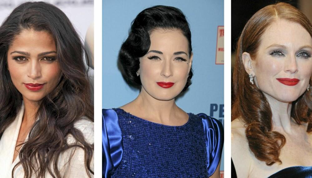 MED LEPPESTIFTEN PÅ PLASS: At kjendisene omfavner leppestiften, og særlig den røde, er ingen nyhet. Her ser vi modellen Camila Alves, Dita von Teese og Julianne Moore ikledd kledelige røde lepper.