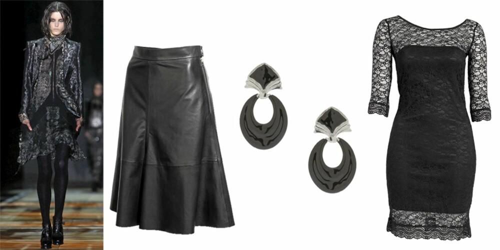 FRA VENSTRE: skjørt fra HogM (kr 799), øredobber fra Gina Tricot (kr 99), kjole fra Oneness (kr299).