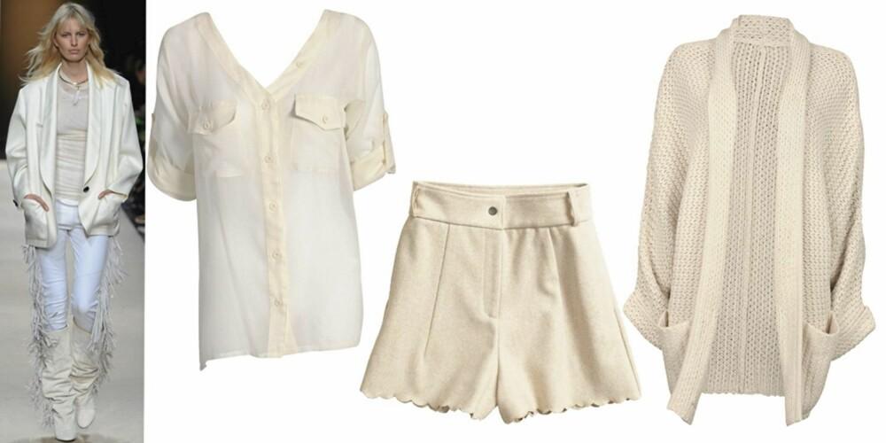 FRA VENSTRE: bluse fra Sisters Point (kr 349), shorts fra HogM (kr 399), strikkejakke fra Cubus (kr 399).