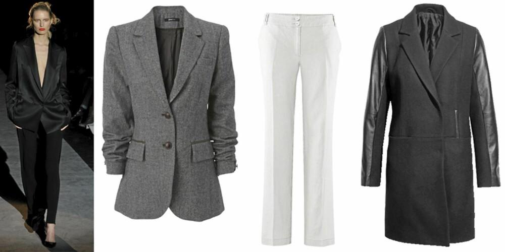 FRA VENSTRE: blazer fra Gina Tricot (kr 399), bukse fra HogM (kr 199), jakke fra HogM (kr 999).