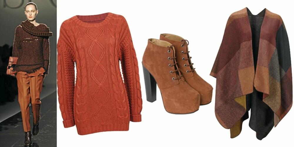 FRA VENSTRE: henser fra Cubus (kr 399), sko fra Samsøe Samsøe (kr 2200), poncho fra Gina Tricot (kr 149).