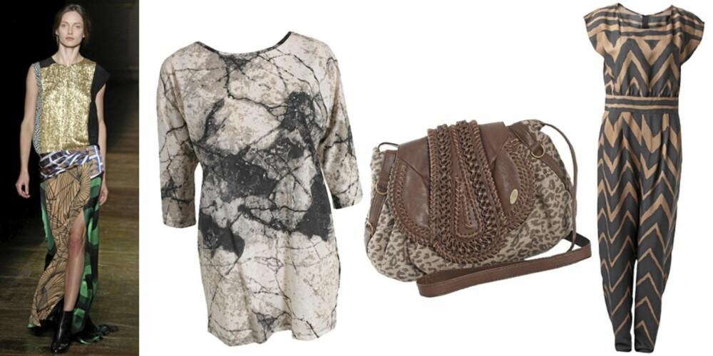 FRA VENSTRE: genser fra Selected Femme (kr 299), veske fra Fiorelle (kr 799), jumpsuit fra Gina Tricot (kr 399).
