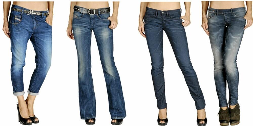 DIESEL: Diesel har jeans for hver en samk denne sesongen, alt fra baggy til skinny og med sleng. Fra venstre: Diesel Chinelle (kr 881), Diesel Lovely (kr 881), Diesel Xerox (kr 881), Diesel Cherick (kr 958).