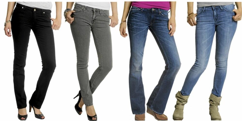 LEE: Denne sesongen har Lee bukser med beinvidde for de flest, alt fra sleng til skinny jeans. Fra venste: Lee Marlin (kr 600), Lee Jade (kr 675), Lee New Lola (kr 750), Lee Scarlet Deluxe (kr 750).